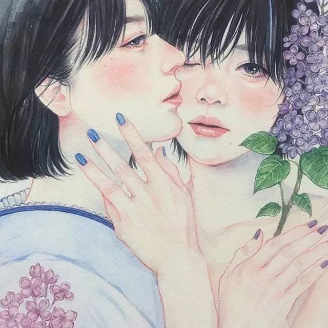 动漫手绘女生头像水彩