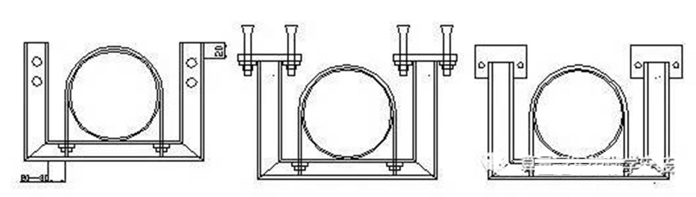、横梁安装(一) 、天花吊顶式 、横梁安装(二) 吊式龙门支架材料适用表(同时适用于座地式): 吊架型材 适用管道 支架底板 膨胀螺栓 6#槽钢 DN200 =10 150150 M12100 8#槽钢 DN250 =10 170170 M12100 10#槽钢 DN300~DN400 =12 190190 M12120 2、水平龙门支架