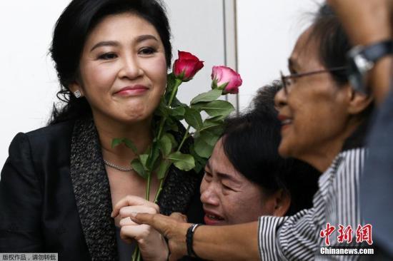 资料图:2017年8月1日,泰国前总理英拉抵达最高法院出席大米收购案结案辩护陈词。