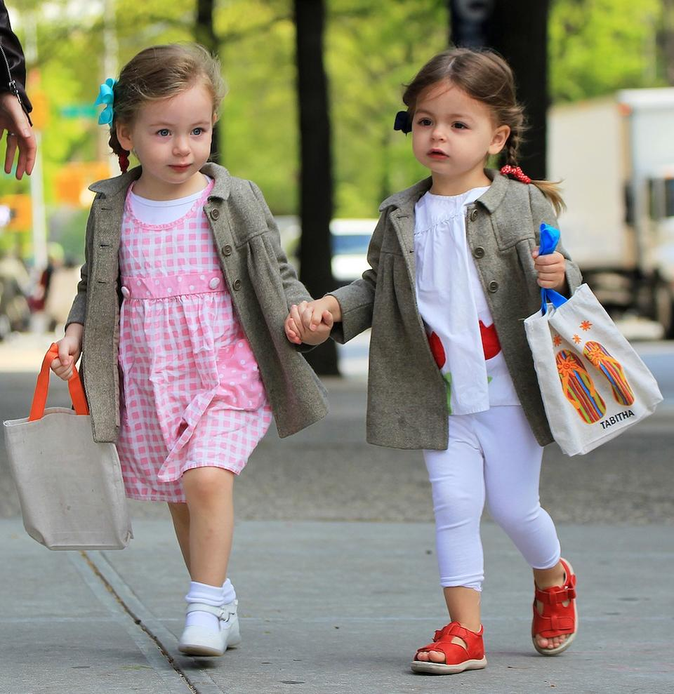 Marion Loretta Broderick and Tabitha Broderick carry monogrammed bags to school in NYC