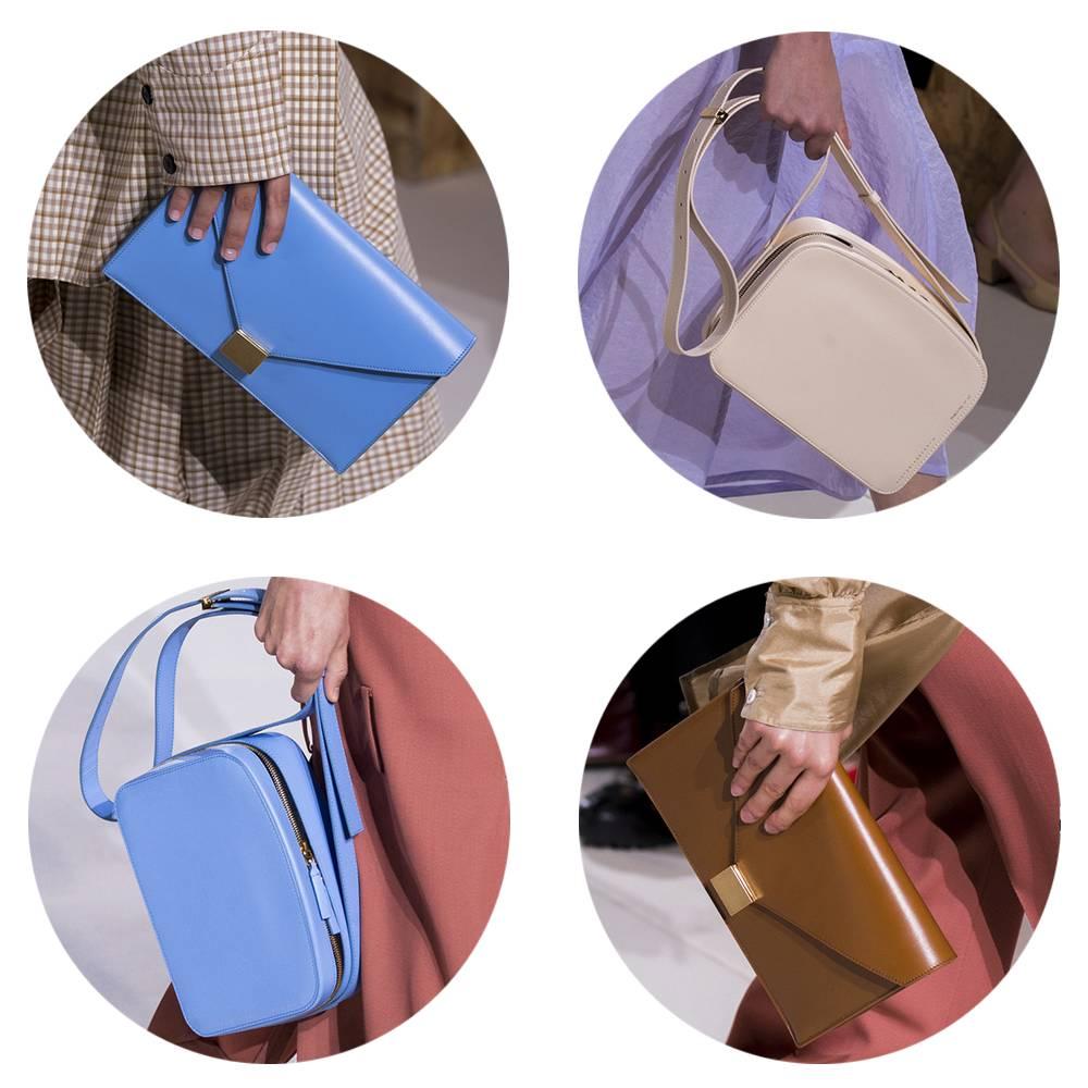 手袋则主打金属扣装饰的信封包和简约的小相机包,看起来色彩明快造型