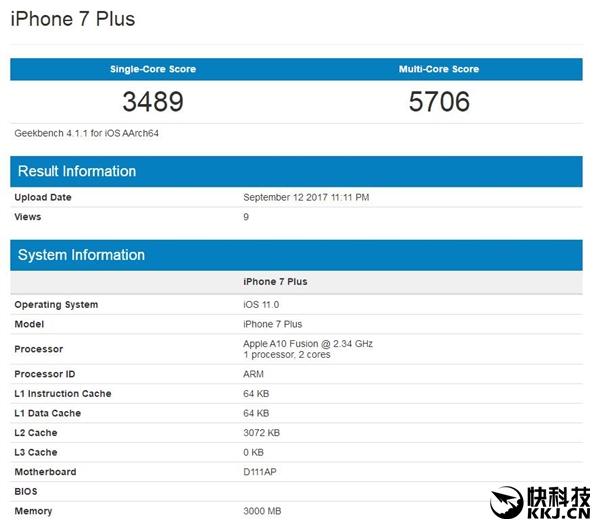 即便是iPhone 7 Plus,其搭�d的A10�理器跑分也不�^是3500/5700分左右,A11的�尉�程�m然只增加了20%左右,但多�程�缀醴�倍。