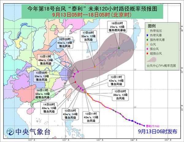 """图1 台风""""泰利""""路径预报图"""