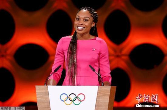 """美国女子田径选手埃里森・菲利克斯在大会上做陈述。不同于往日各国为了申办权争得""""头破血流"""",这次申奥的过程更像是一场""""没有硝烟的战斗""""。"""