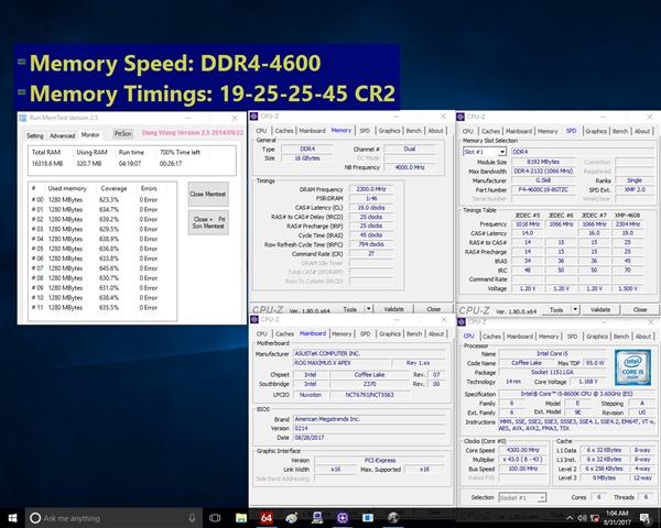 芝奇内存为Intel八代酷睿四连发:极速4600MHz