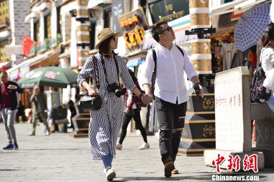 内地游客于国庆节当天游览拉萨八廓街。 周文元 摄
