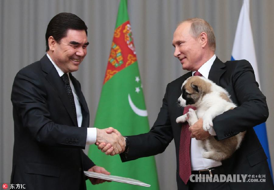 土库曼斯坦总统访俄 向普京赠送一只幼犬