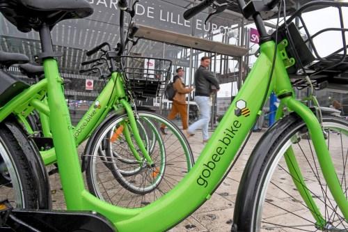 Gobee.Bike无桩共享单车已在法国北部城市里尔(Lille)推出。(欧洲时报网/Gobee.Bike官方推特图片)
