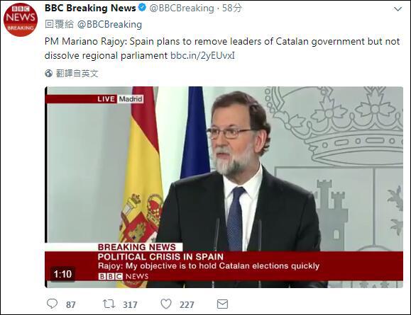统独之争:西班牙宣布将接管加泰罗尼亚