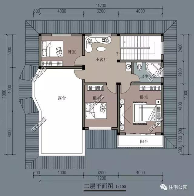 12X11米农村别墅户型,4室2厅,通透舒适
