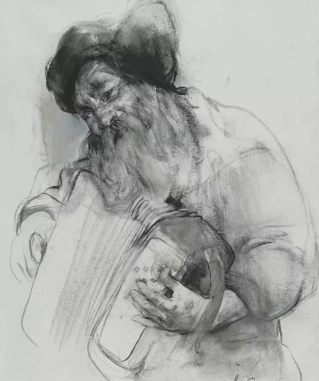 他素描受东方传统绘画的影响,素描头像用炭笔画在坚实光滑的纸上,自成