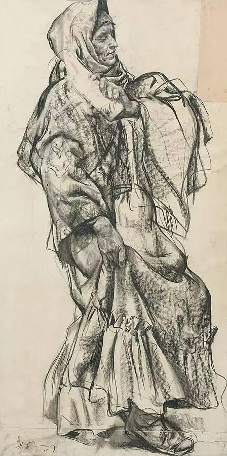 他素描受东方传统绘画的影响,素描头像用炭笔画在坚实光滑的纸上,自