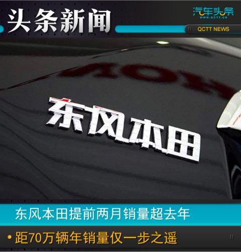 东风本田提前两月销量超去年 距70万辆年销量目标仅一步之遥