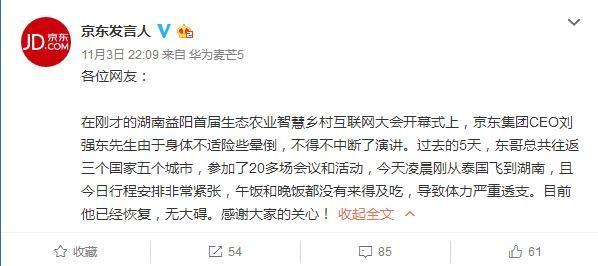 刘强东演讲险晕倒 午饭和晚饭没来得及吃导致体力透支
