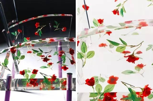 新闻客户端  有机玻璃的玫瑰花 镶嵌在有机玻璃的椅面和扶手 这款椅子