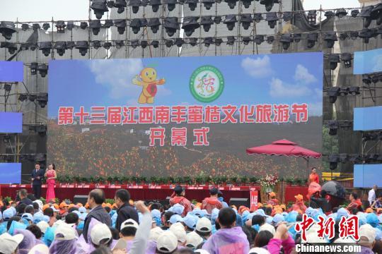 12日,第十三届江西南丰蜜桔文化旅游节在江西省抚州市南丰县开幕。 刘荫 摄