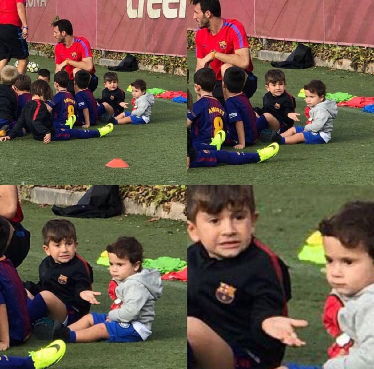 梅西:苏亚雷斯儿子踢球很棒,我儿也开始喜欢足球了