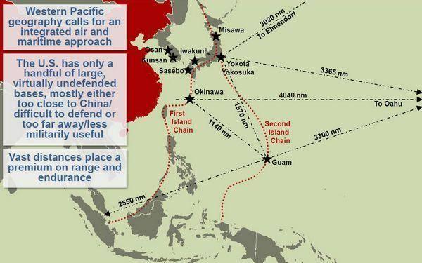 美军位于第一岛链的基地群已完全处于解放军火力覆盖范围之内。 据日本共同社报道称,这是为了应对不允许美军靠近本国近海的中国拒绝接近战略,旨在避免中国开发的被称为航母杀手的反舰弹道导弹东风21D击沉航母。如果该方案被实际采用,自卫队必然会被要求在支援美军方面发挥更大作用。这里提到的拒绝接近战略是中国为研发能够延缓或阻止潜在敌手进入冲突区的武器系统所做的努力。这种战略被称为反介入、区域拒止或A2/AD,该战略的支柱就是反舰导弹。