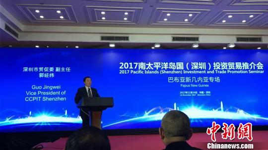 深圳市贸促委副主任郭经纬在推介会上 林伟斌 摄