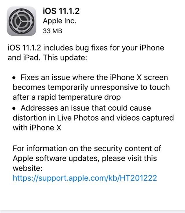 iPhoneX赶紧升级!苹果发布iOS11.1.2更新