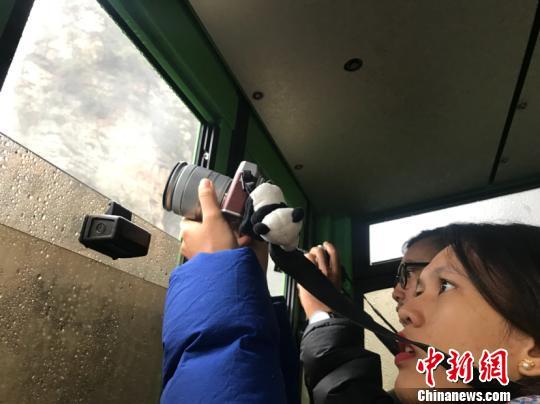 外媒记者乘坐缆车拍摄张家界峰林和云海。