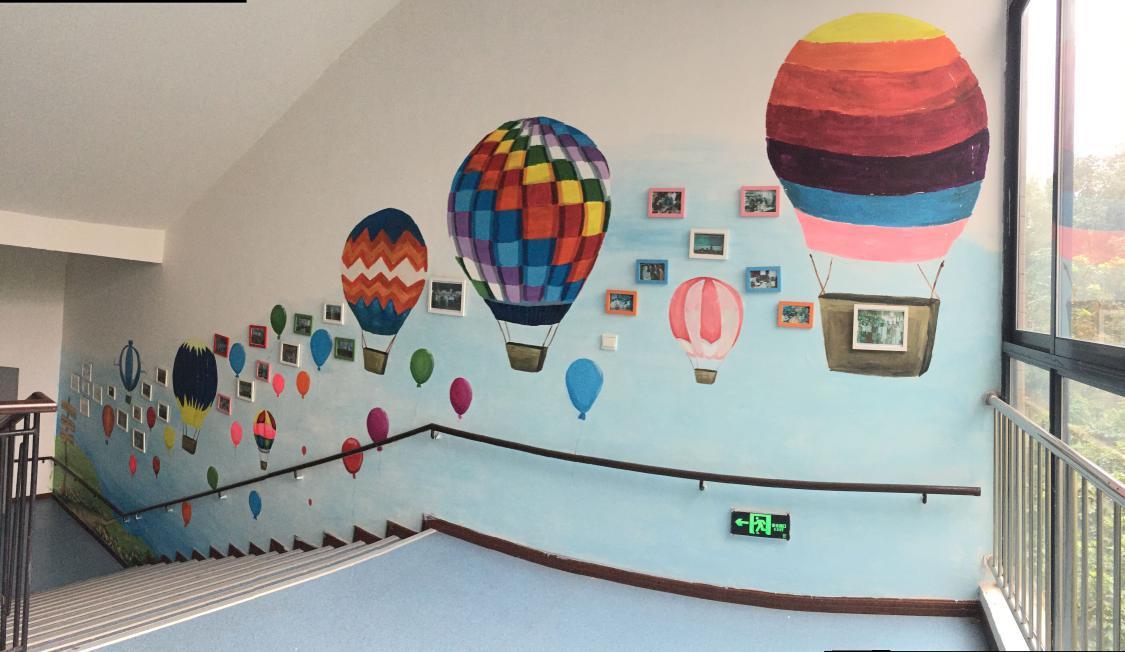 重师大-聋人工作室成员绘制的楼梯墙体彩绘