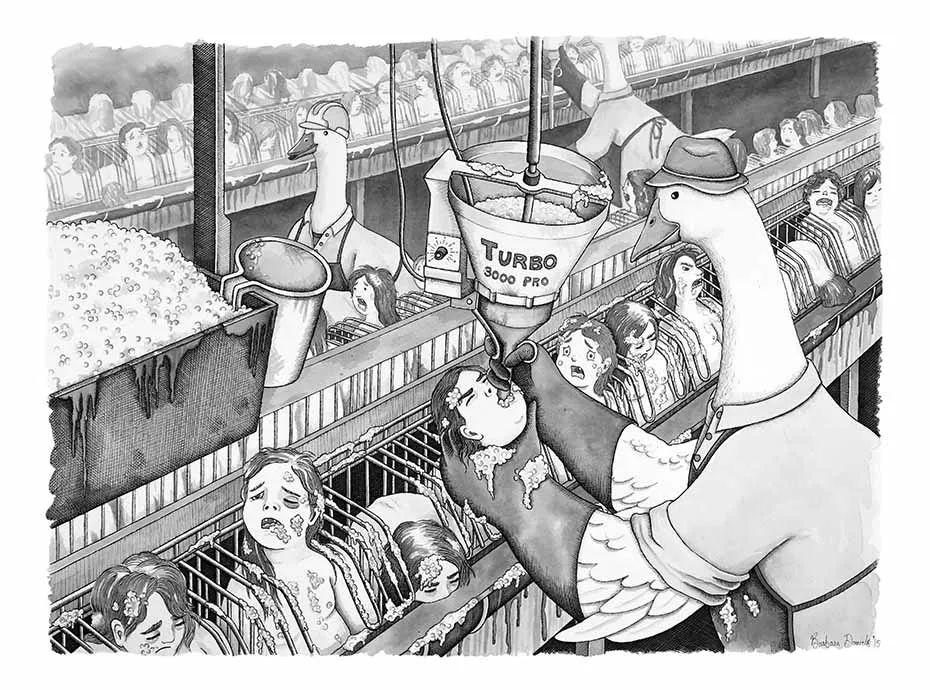 惊心漫画!美女画家27张图揭示人和动物角色互换