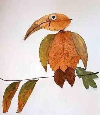 手工篇:各种动物的树叶拼贴画的做法图解!图片