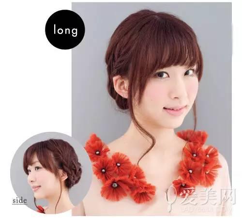 齐刘海搭配鬓角长发修颜瘦脸,编发盘发让颈部更加的清爽,让发型甜美中