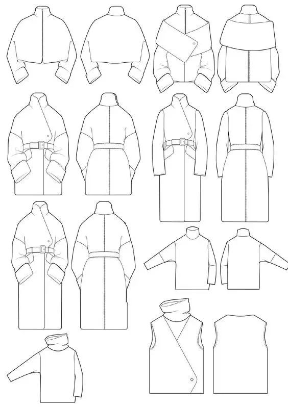 h型服装款式图手绘