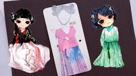 视频:古装汉服袄裙迷你版折纸书签,美美哒中国风图片