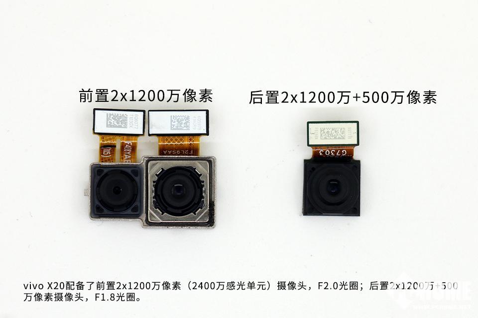 200万像素(2400万感光单元)摄像头,F2.0光圈;后置2x1200万+