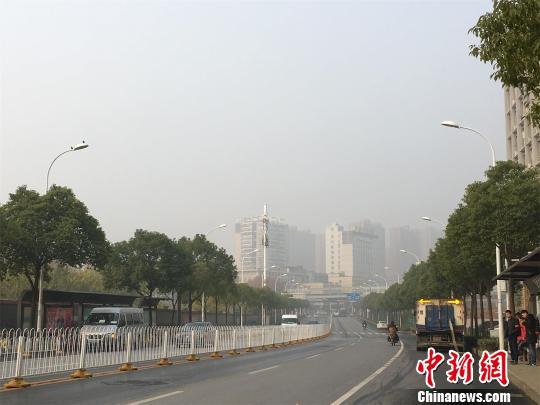 霾笼罩下,不远处的建筑物模糊不清马芙蓉摄