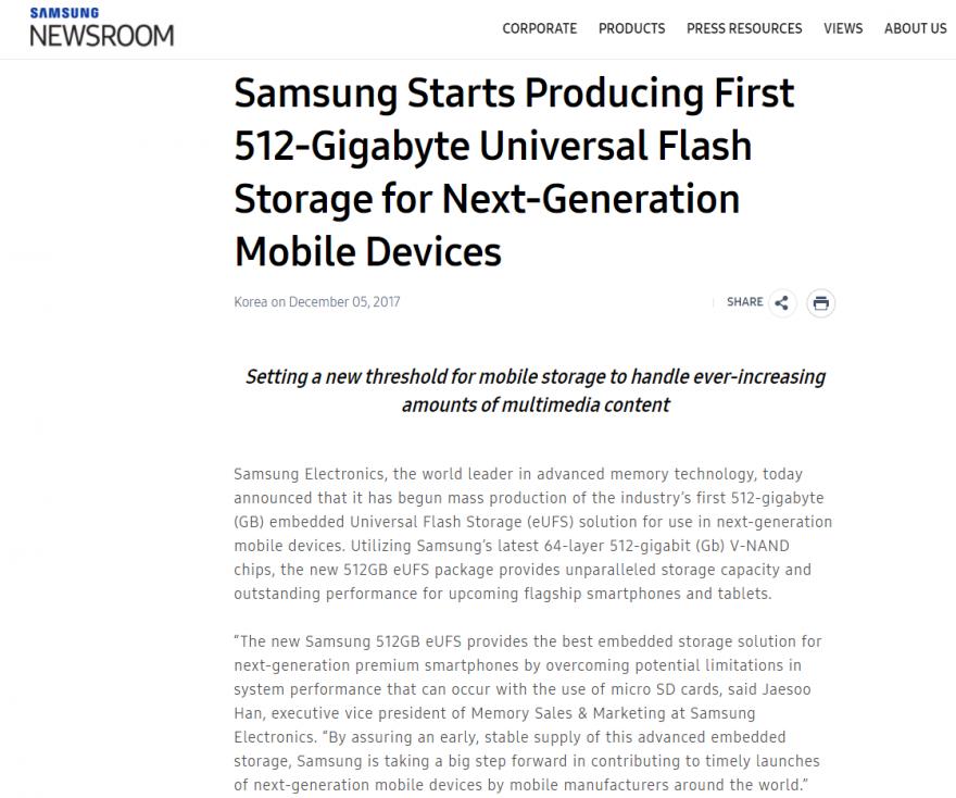 三星已开始量产512GB eUFS闪存芯片