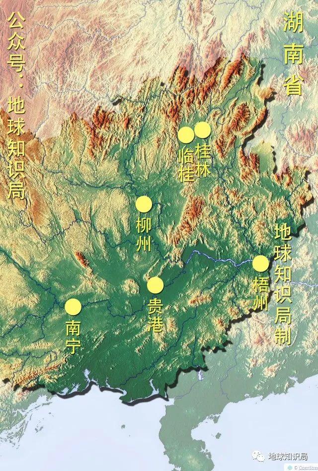 中国广西城市地图