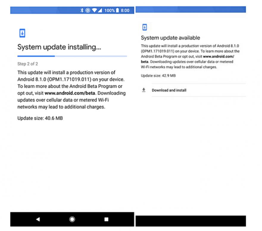 Android 8.1 开始 OTA,亲儿子都有份