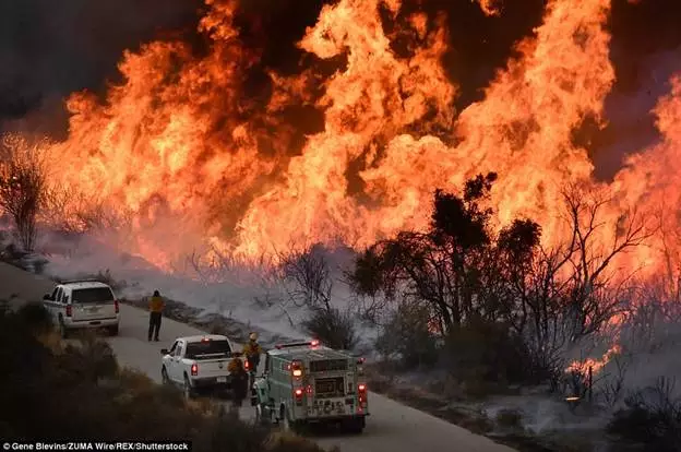 加州大火再升级 烧毁面积超纽约波士顿之和(动图)