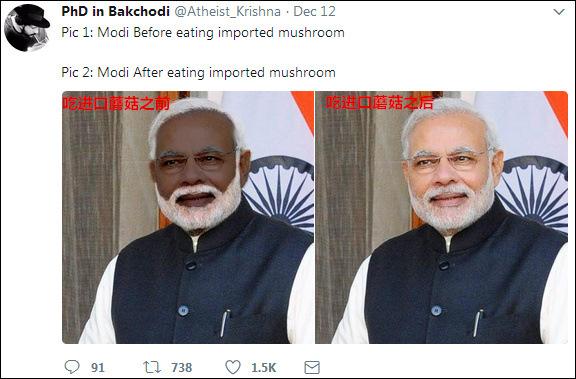 印政客为黑对手 竟称莫迪吃台湾天价蘑菇美白(图)
