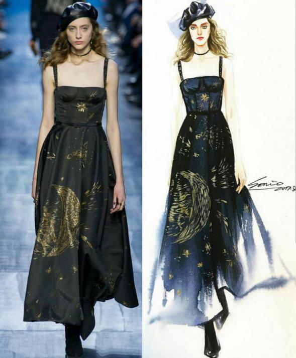迪奥高定设计师笔下的礼服 穿在模特身上美如画