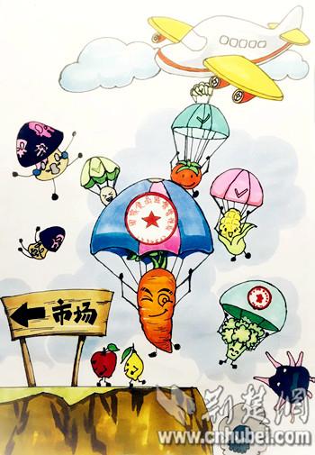 """学团队创作的""""安全降落""""漫画寓意抵制三无食品,让安全食物进入图片"""