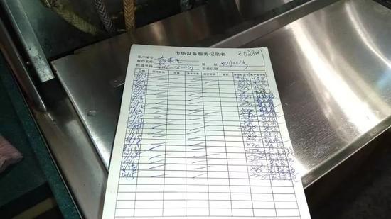根据该记录表,这台饮料机近一年没有更换过滤芯  陈玺撼 摄