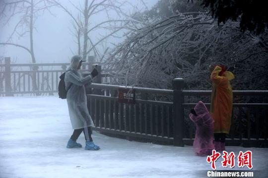 游客在雪中拍照 吴勇兵 摄
