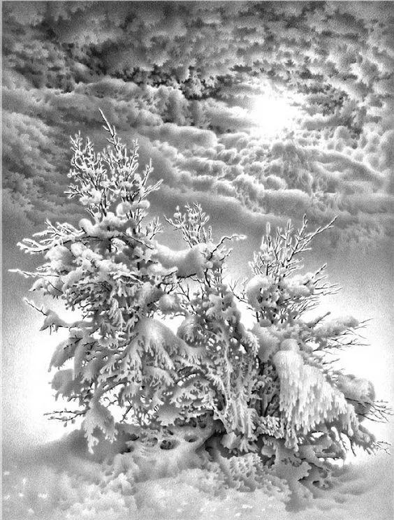 74岁老人铅笔画雪胜照片,普京都被骗过