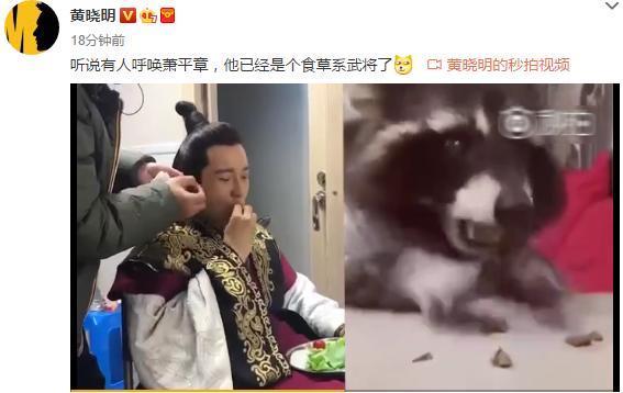 """黄晓明边化妆边吃生菜,神似""""仓鼠吃食""""表情包"""