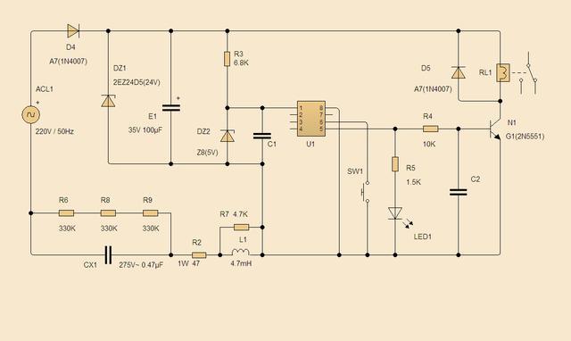整理了一下开关模块的电路图给大家参考。虽然是一个比较简单的阻容降压电路,但设计还是很严谨的。 一般来说阻容降压电路功率较小,无功损耗使得其功率因数较低,但胜在线路简单,成本低廉,所以仍有很多小电器乐于采用。 该电路有2组电压输出,一级电压24V使用了2W的稳压管,回路串有限流电阻和一级电感,可以有效降低电网中的谐波干扰和浪涌冲击电流。 之所以选择高达24V的一级电压电压,是为了降低在电网电压大幅波动时对电源输出功率的影响,实测表明该电路在110V~低电压条件下使用也是较为可靠的。 专用CX电容的使用以及