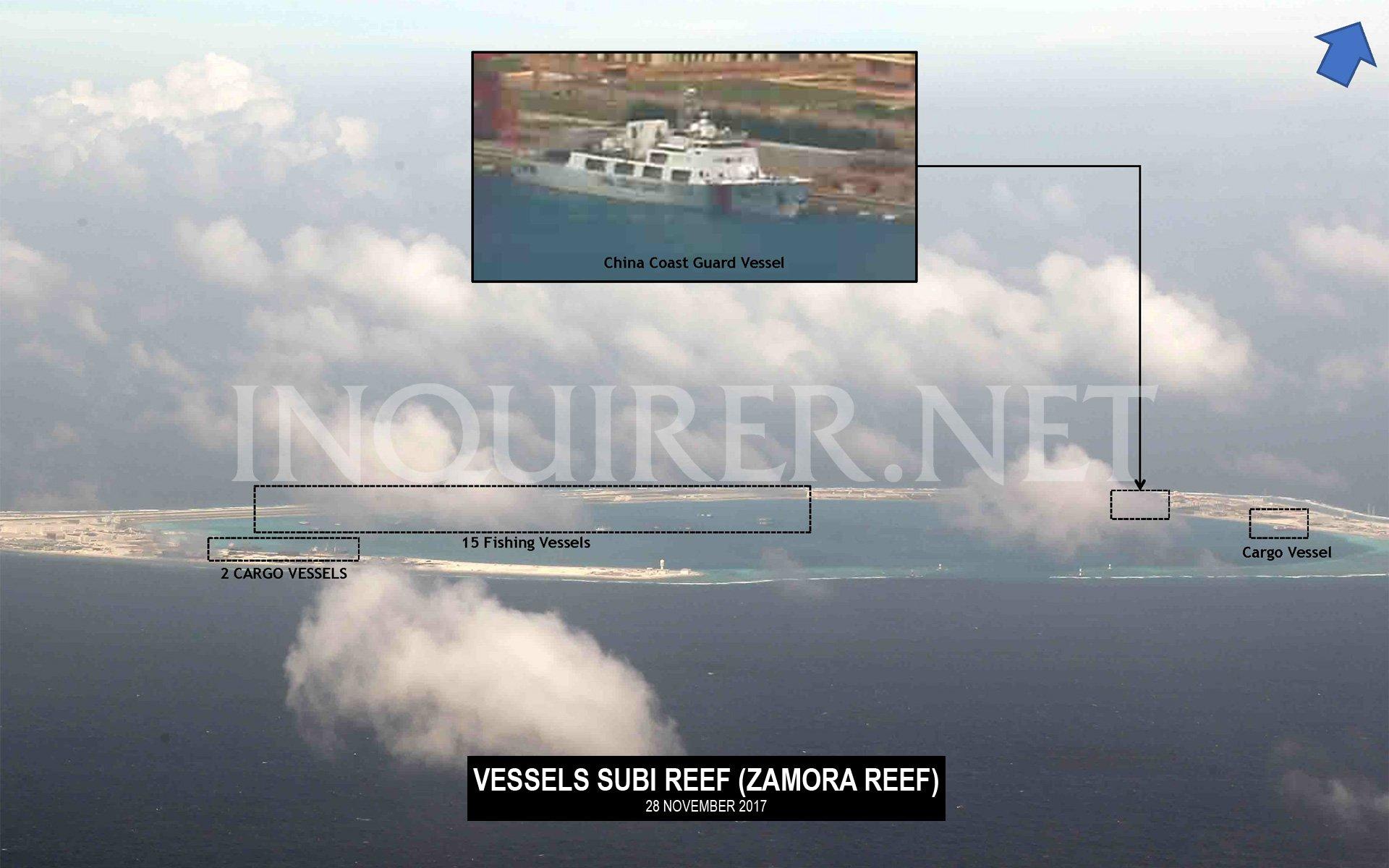 菲律宾《每日问询者报》公布中国南海岛礁进展的航拍照片