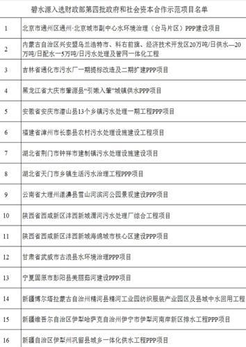 碧水源入选的16个示范项目汇总