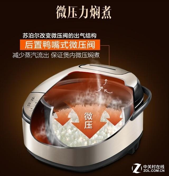 电饭锅食用微压设计,通过对微压阀的结构改进,减少蒸汽流失,使内部