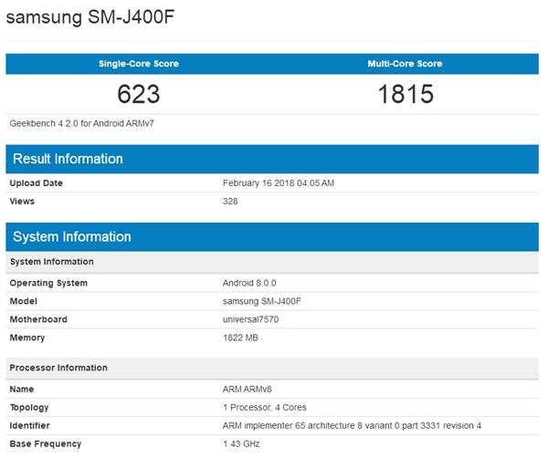 三星曝入门新机Galaxy J4:预装安卓8.0