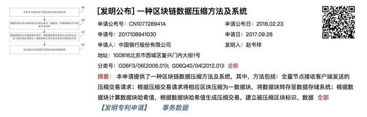 中国银行申请专利公布:解决区块链扩容问题